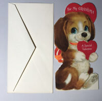 New Vintage Valentine Card Puppy Dog heart for My Grandma