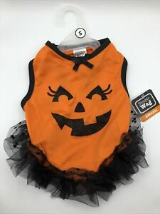 Simply Wag Dog Halloween Dress Costume Pumpkin Face TuTu Size Small