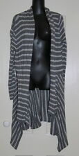 Womens size L (14) long grey striped cardigan made by SUZANNE GRAE