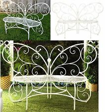 WHITE IRON BUTTERFLY LOVE SEAT BENCH ** MAX WEIGHT 440 LBS ** NIB