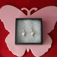 BEAUTIFUL 925 SILVER EARRINGS WITH FRESHWATER PEARLS 3.2 Gr.2.2  CM.LONG + HOOKS