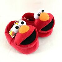 Sesame Street Elmo Toddler Boys Girls Slippers Plush Slip On Red Size XL 9-10