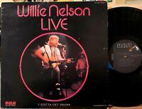 Willie Nelson Live Vinyl LP RCA AYL1-4165 I Gotta Get Drunk Hello Walls 1976 NM