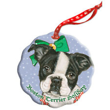 Boston Terrier Holiday Porcelain Christmas Tree Ornament