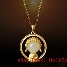 Natural Hetian Jade Buddha Pendant Necklace Baby 925 Silver Jewelry Chalcedony