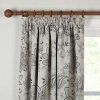 John Lewis Brompton Floral Lined Pencil Pleat Curtains Grey W167cm D228cm