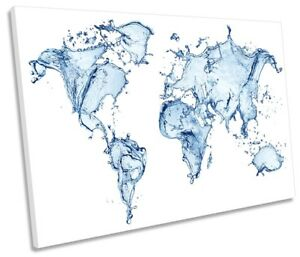 Map World Water Blue Framed SINGLE CANVAS PRINT Wall Art