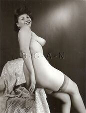 Original Vintage 50s-60s Nude RP- Butt- Stockings- Legs- Sits on Chair- Endowed