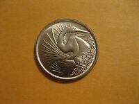 1974 Singapore coin    Great White Egret   Uncirculated beauty animal bird