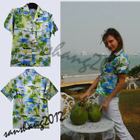 Men Green Aloha Shirt Tropical Luau Beach Party Hawaiian Sunset palm tree Hawaii