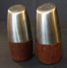 Mid Century Modern Teak Stainless Steel Salt and Pepper Shakers Sweden