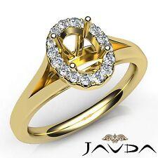 Diamond Engagement Oval Semi Mount 18k Yellow Gold Halo Prong Set Ring 0.2 Carat