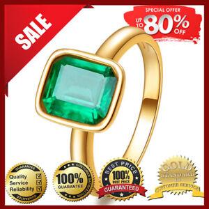Vintage Natural Emerald Ring 18K Yellow Gold Women's Wedding Bridal Jewelry Gem