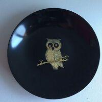 "Vintage 7 1/2"" COUROC Owl On Branch Bowl Monterey CA Black"