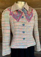 80's Vintage Koos Van Den Akker Mixed Media Wool Blazer Jacket Sz 10