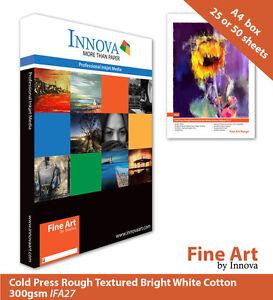 Innova Rough Textured Bright White Cotton Matte Inkjet Paper 300g A4 25 (IFA-27)