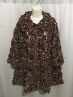 Damee Inc Artsy Brown Black Animal Print Jacket Sheer Feathered Rosettes Size L