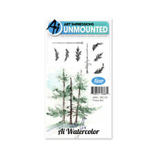 Art Impressions Watercolor Cling Rubber Stamps -Fir Trees -WC4960