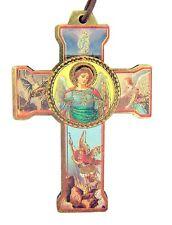 Saint Michael Wood Cross Pendant on Nylon String Chain Necklace, 2 Inch