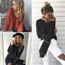 Winter Women Loose Knitted Sweater Long Sleeve Pullover V-Neck Outwear Coat