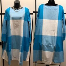 Veritecoeur Japan OS Cotton Blue White Combo Big Check High Ballet Neck Dress