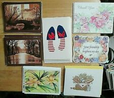 Lot of 32 vtg note cards Bread Basket Flowers Scenic 7 sets blank greeting cards