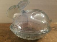"""Vintage Bunny on Nest Glass Candy Dish Light Blue  Easter Decor  Collectible 4 """""""