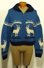 women's shawl collar cowichan UGLY CHRISTMAS CARDIGAN SWEATER curling reindeer