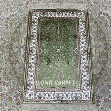 YILONG 2'x3' Handmade Silk Rug Red Green All-Over Eco Friendly Carpet HF077B