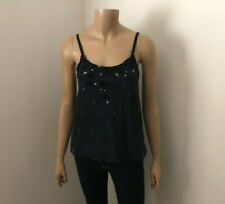 Abercrombie Womens Lace Tank Top Size Small Embellished Sequin Navy Blue Cami