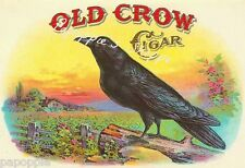 Fabric Block Vintage Ad Old Crow Brand Cigars Vintage Label Printed on Fabric