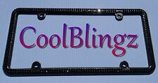 BLACK Crystal Rhinestone License Plate (Black) Frame made w/ Swarovski Elements
