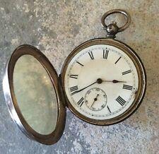 Early Sterling Silver Key Wind Pocket Watch