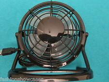 """Small Personal USB Desk Top 4"""" Electric Fan Black Adjustable Mini Fan"""