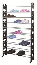 Shoe Rack Holds 50 Pairs 10 Shelves Stand Storage Display Rows Racks Space Saver