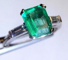 Vivid Colombian Emerald and Baguette Diamond Platinum Engagement Ring Size 6