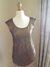 Oasis Womans Stunning Brass Metallic Top. Size Medium. Sleeveless Party Top.