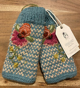 NWT Sundance Catalog Blue Teal  100% Wool Knitted Fingerless Mittens, OS