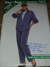 BUTTERICK #5821-LADIES (GREAT FOR FLEECE) JACKET & PULL ON PANTS PATTERN P-XL uc