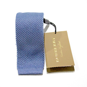 Men's Burberry 100% Silk Solid Powder Blue Square Base Knit Neck Tie MSRP $90