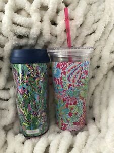 2 Lilly Pulitzer Acrylic Cups Blue Pink Insulated Travel Tumbler