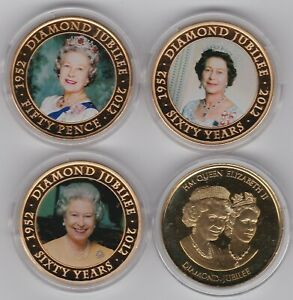 FOUR VARIOUS QUEEN ELIZABETH II GOLD PLATED COINS/MEDAL WITH CAPSULES & CERTS