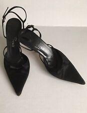 132d4a1cbb7 Valentino Garavani Women s Black Satin Bow Pointed Ankle Strappy Heels Sz  37.5