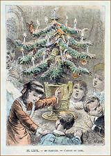 L'ARBRE de NOËL en FAMILLE - Gravure en couleur deu 19e s.