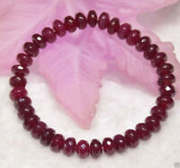 Handmade 5x8mm Natural Faceted Red Ruby Gemstone Beads Stretchy Bracelet 7.5""