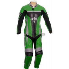 Tute in pelle e altri tessuti verde con protezioni rimovibili per motociclista