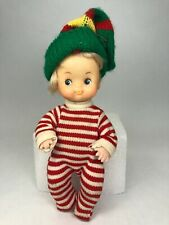 Vintage 1977 Ud Co Hong Kong Blonde Christmas Doll Red White Striped 7""