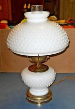 VINTAGE GONE WITH THE WIND WHITE MILK GLASS HOBNAIL TABLE HURRICANE LAMP