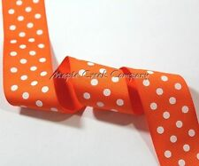 "1yd of Orange 1.5"" Grosgrain Ribbon with White Polka Dots neatly wound"