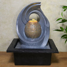 Abstract Spiral With Stone Ball Water Fountain With Light Perfect Indoor Feature
